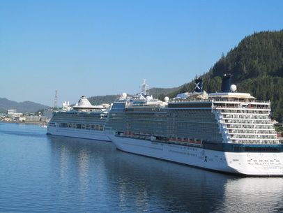 2 Ships Docked in Ketchikan, Alaska