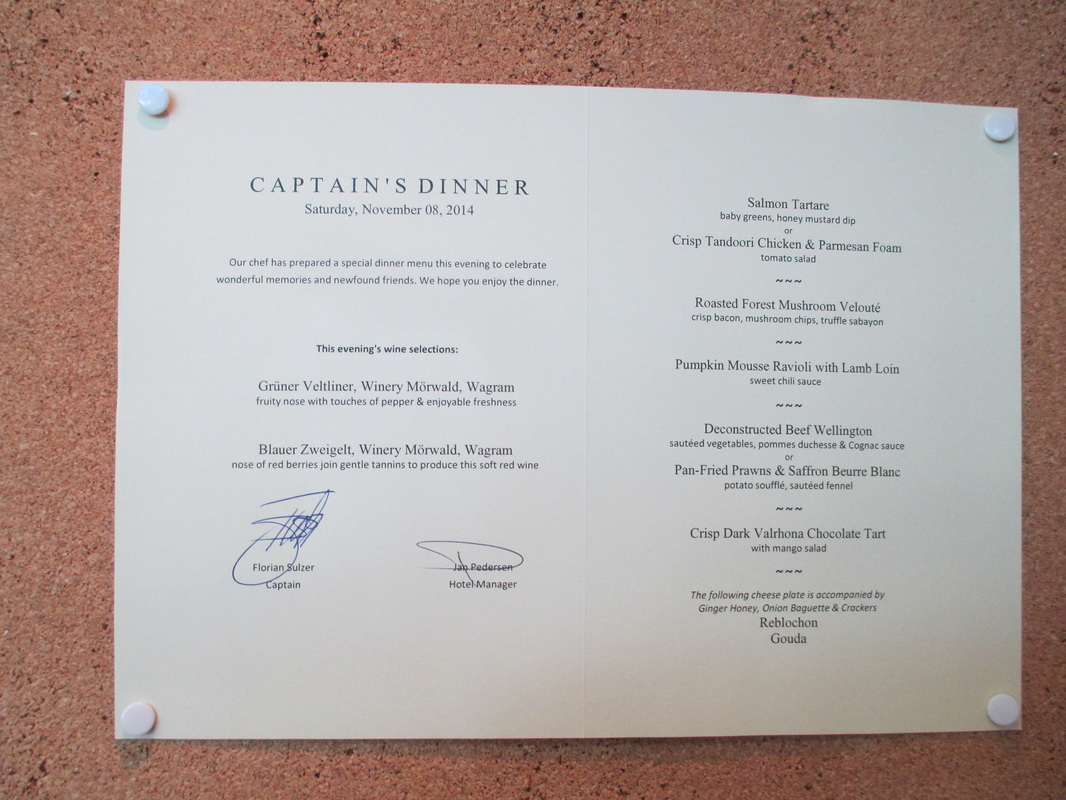 Menu for Captain's Farewell Dinner - 5 course meal