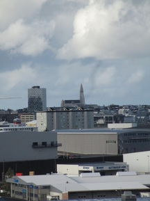 Skyline of Reykjavik from the ship