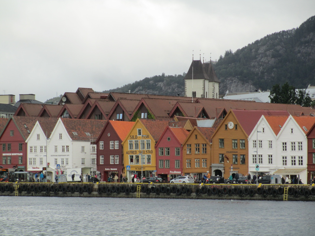 Looking across harbor at Bryggen (old town Bergen) which is an UNESCO World Heritage Site