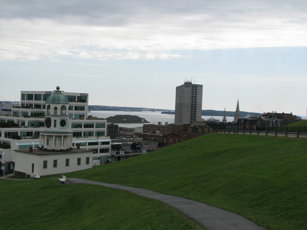 View of Halifax and the old town clock from Citadel National Historic Site which sits on a hill above the city