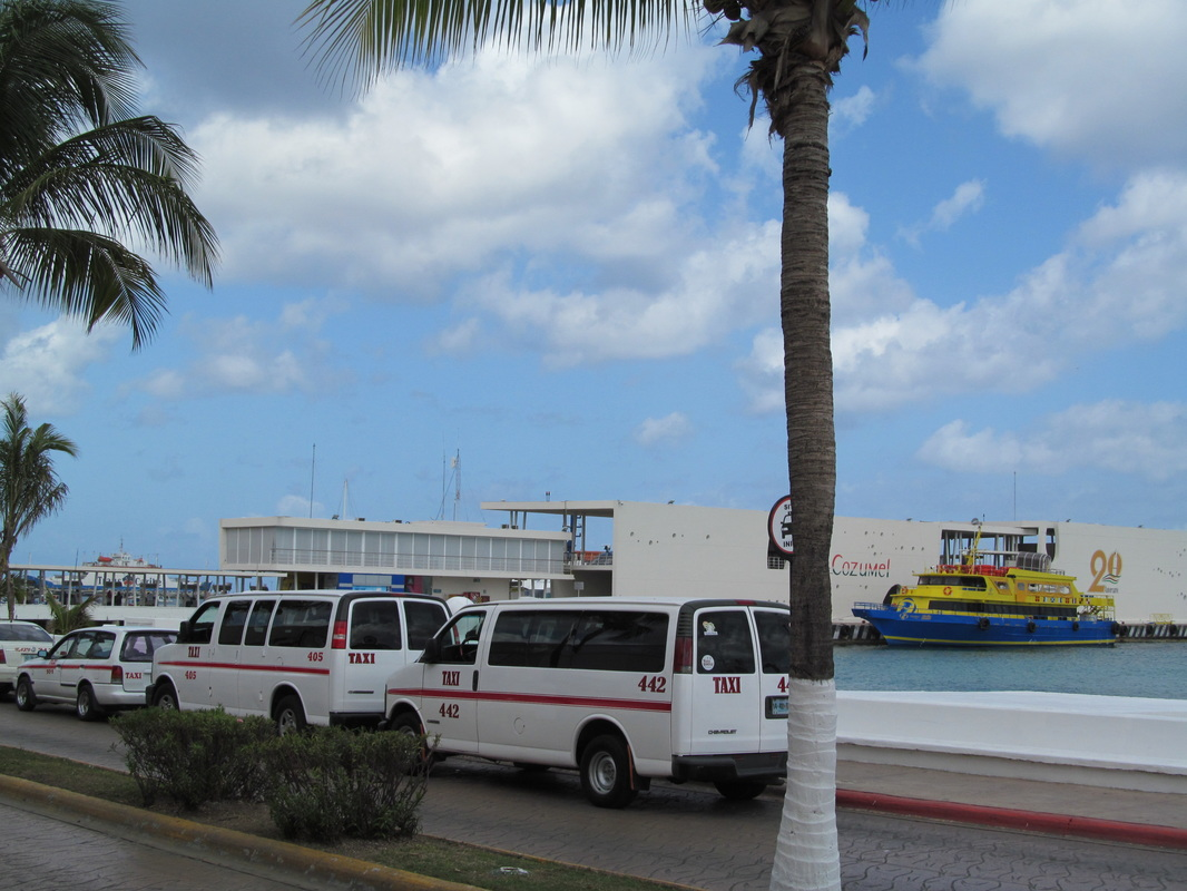 Parked Taxis in Cozumel