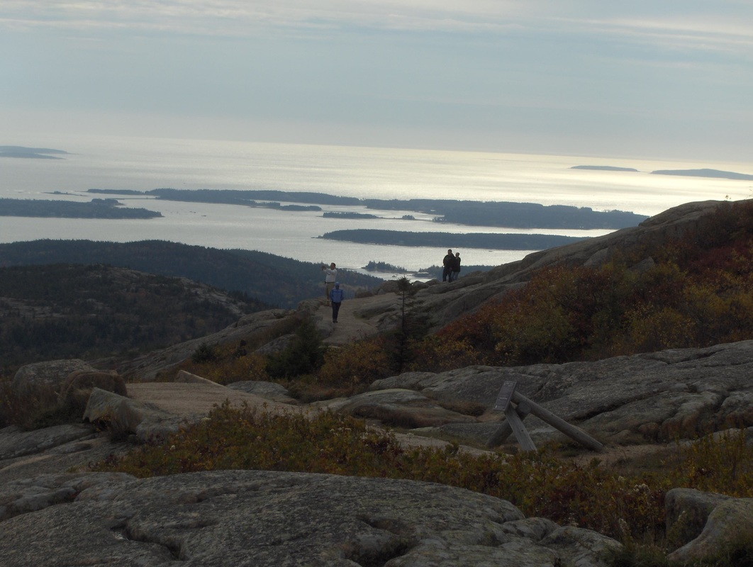 View of Frenchman's Bay and Porcupine Islands from Cadillac Mt.