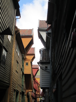 Alleys between buildings in old town Bergen