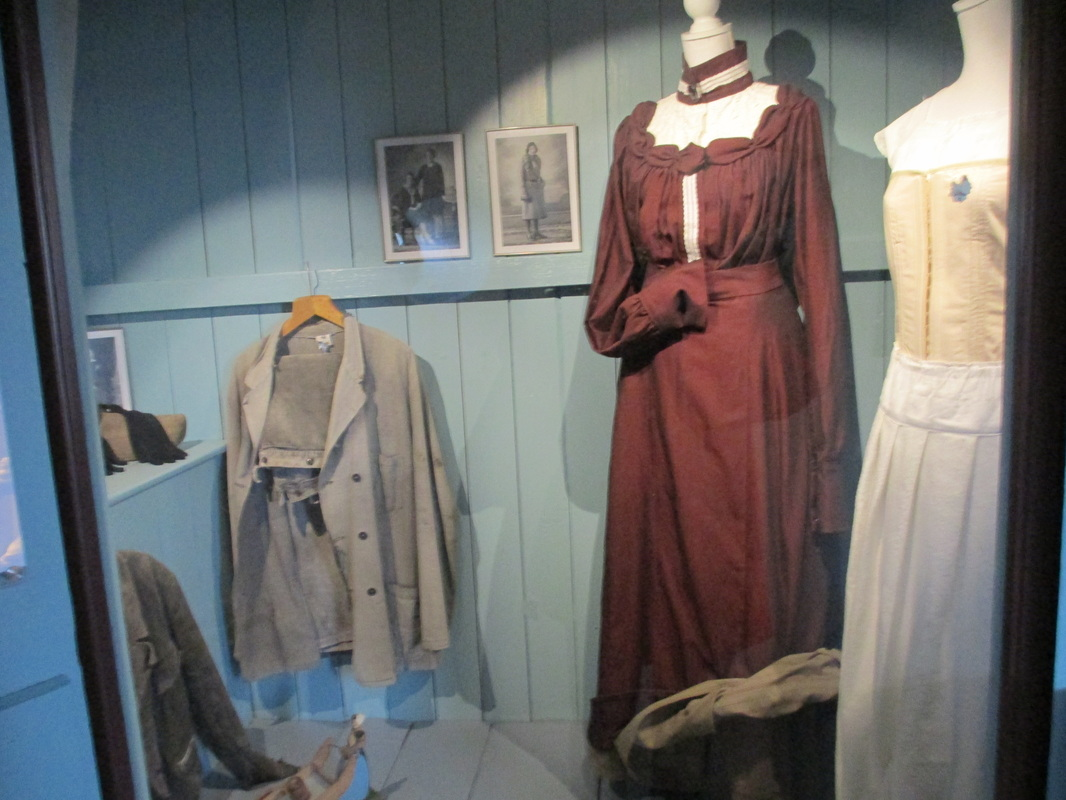 Display of women's clothing from days gone by