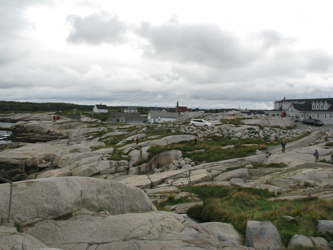Rocky coast with houses in background