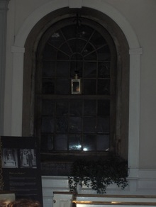 Inside church where the lantern was hung in the window