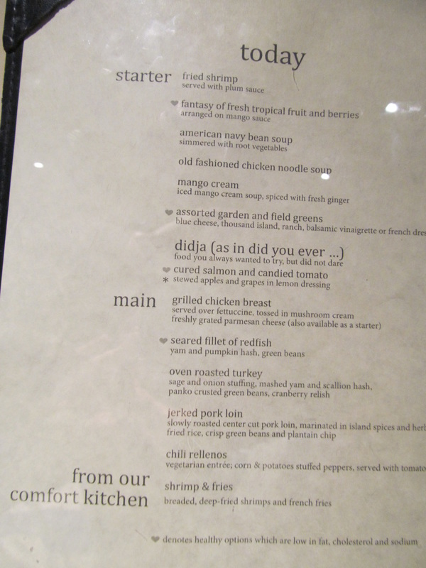 Carnival ELation Dinner Menu
