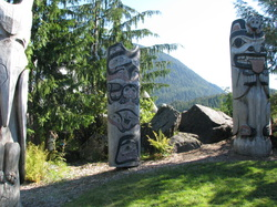 Three Totem Poles in Ketchikan, Alaska