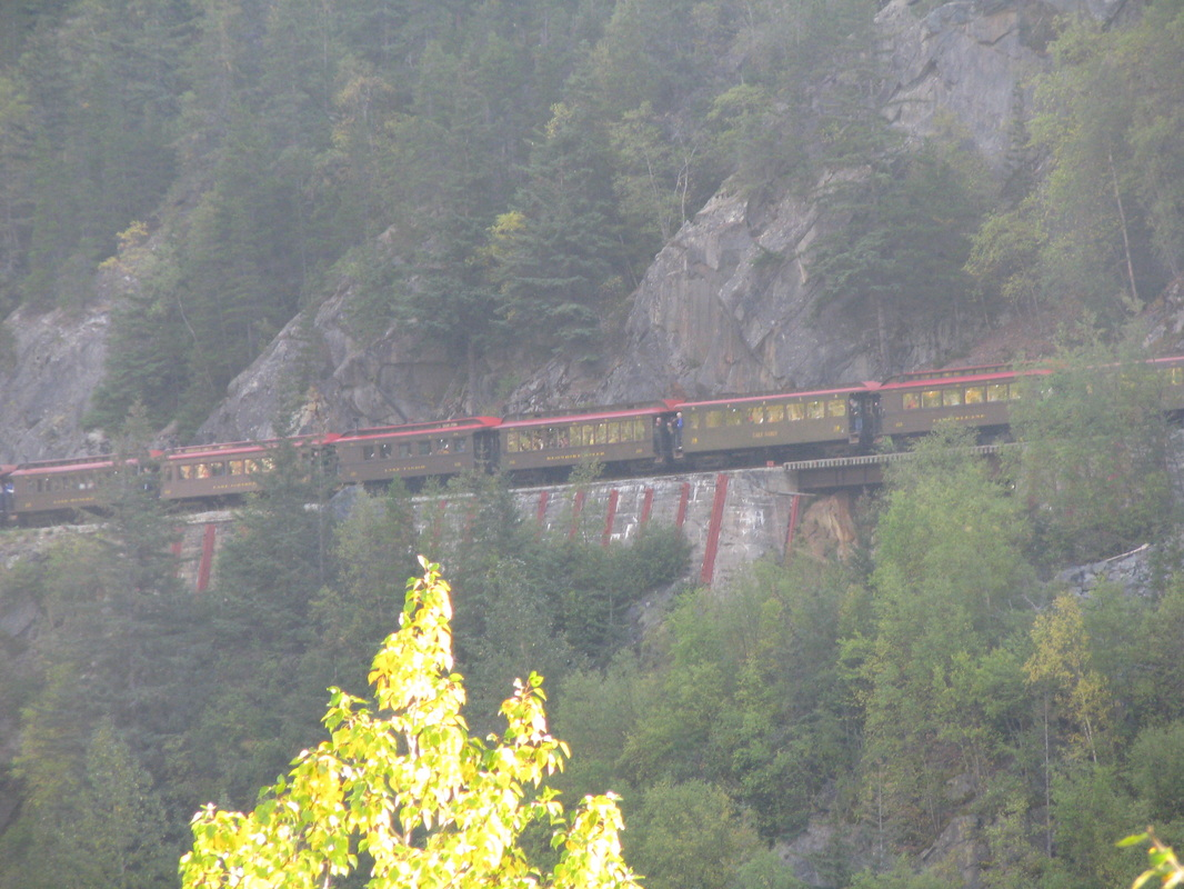 Train on Side of Mountain in Skagway