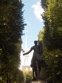 Paul Revere Square with statue and Old North Church in background