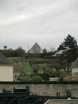 Views of village of Arromanches from outside of Debarkment D-Day Museum