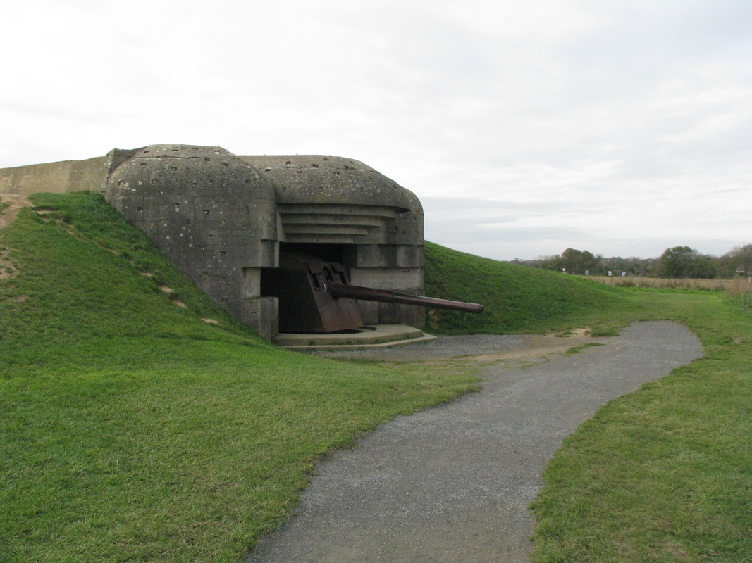 Longues-sur-Mer Gun Battery seen by those on US excursion.- one of four bunkers