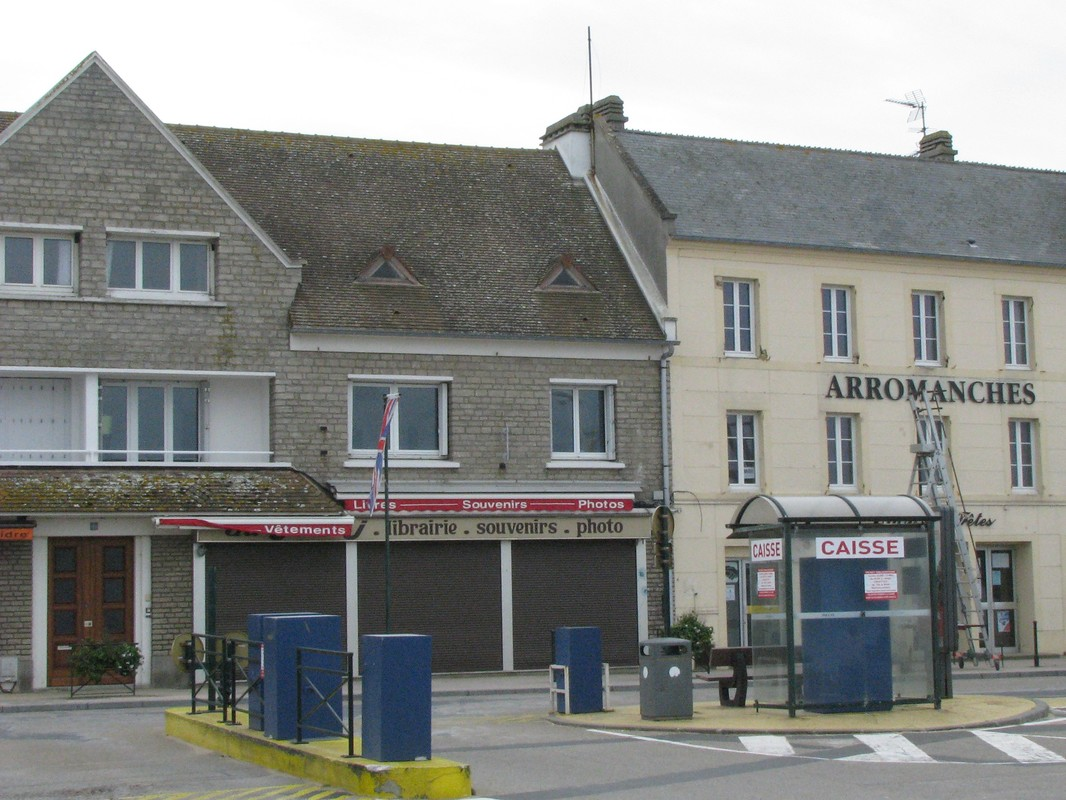 Seaside village of Arromanches seen by those on Commonwealth excursion