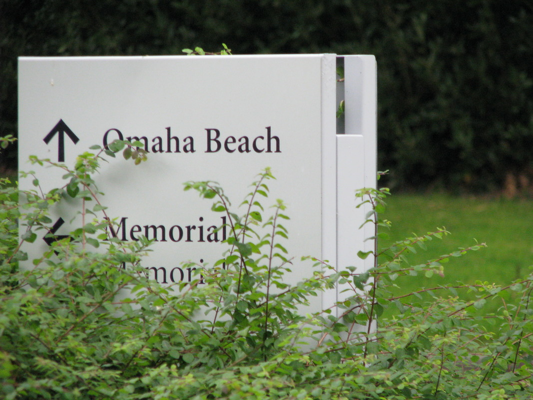 Sign for Memorial and for Omaha Beach