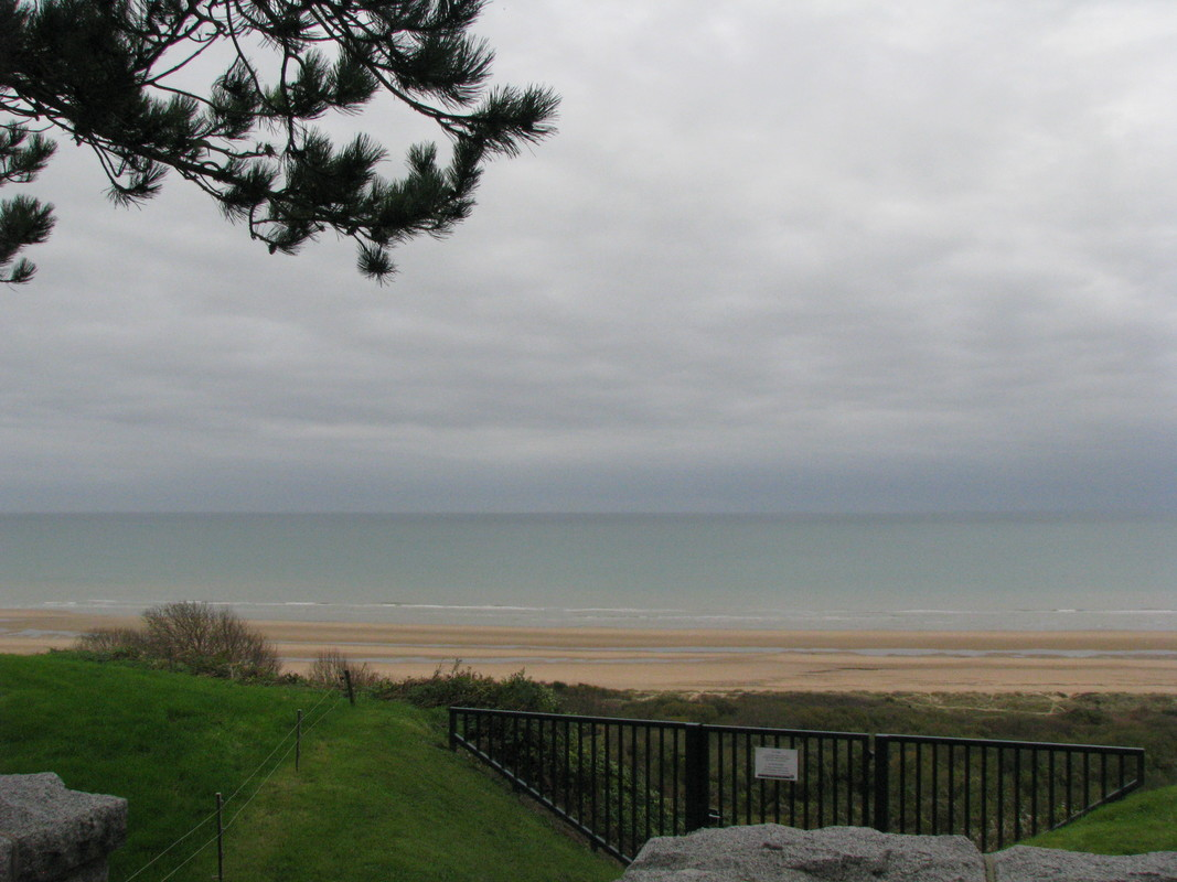 Looking down on Omaha Beach from the edge of the bluff