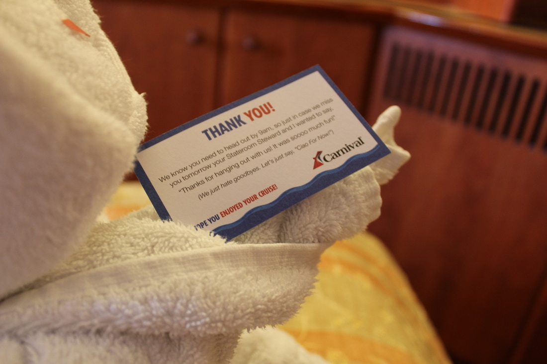 Carnival Valor Thank You Note From Steward