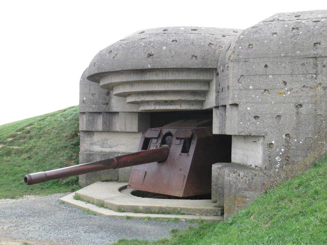 Close up view of the gun in the bunker
