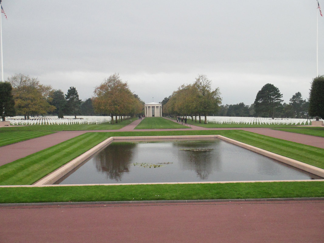 Reflection pool with chapel in background