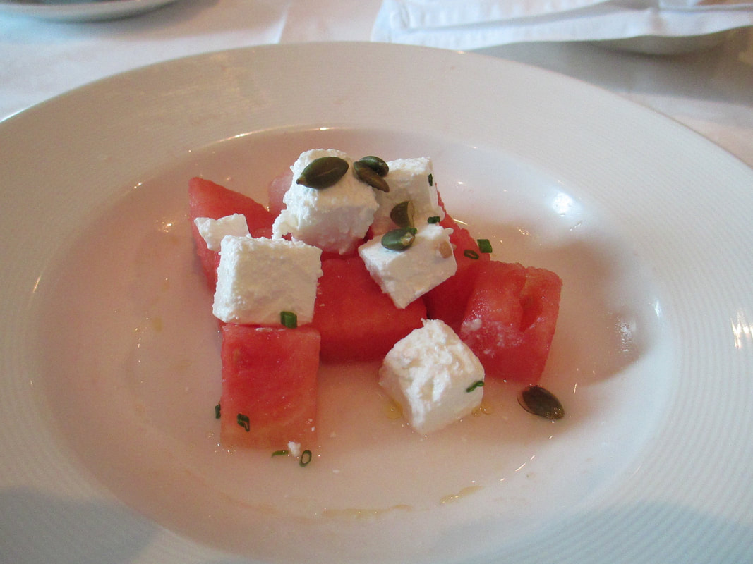 Watermelon with goat cheese appetizer